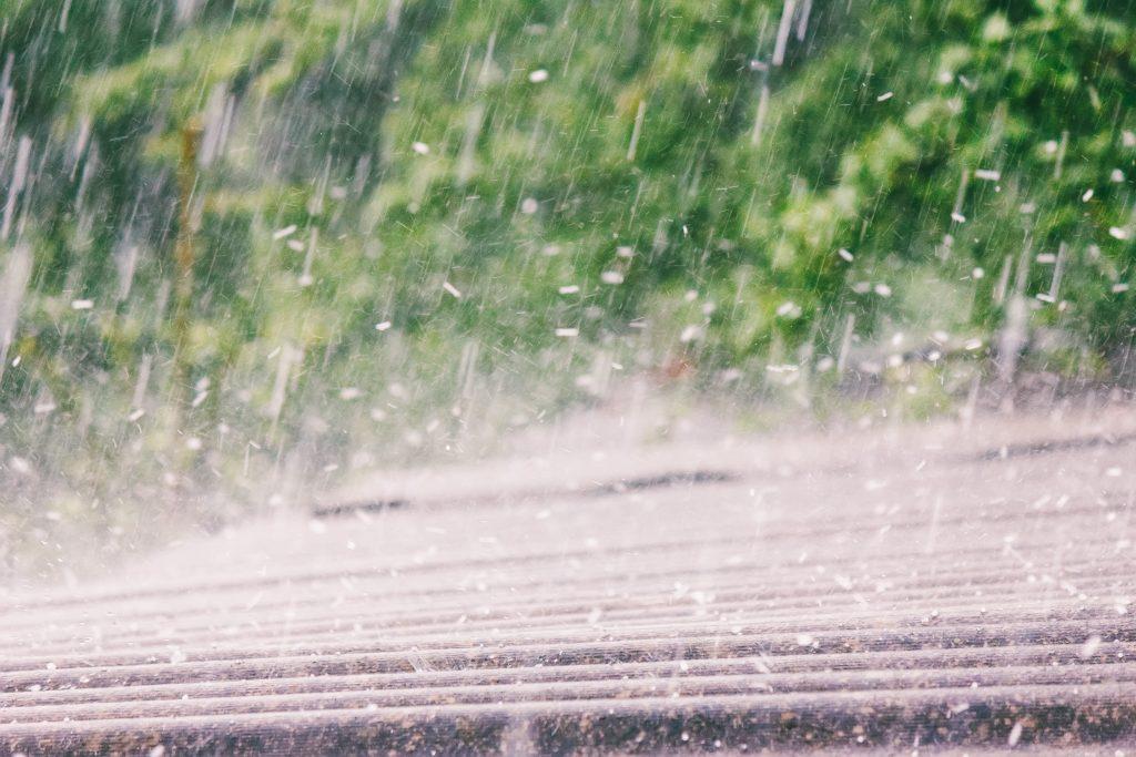 rain and hail hitting roof