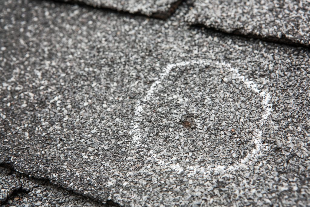 Hail damage on roof after storm